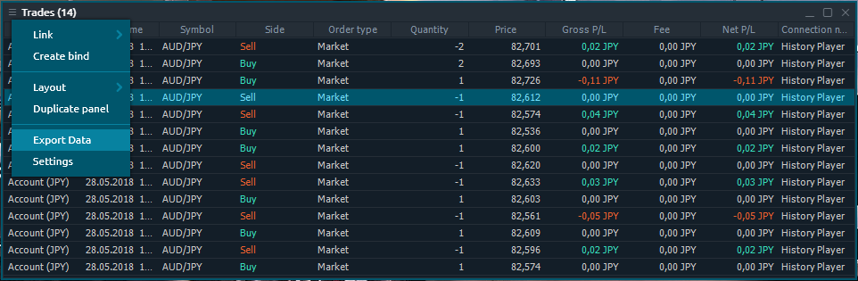 Export of closing trades to an external file from Trades panel