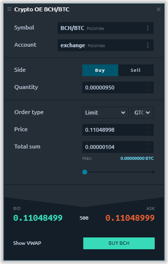 Order Entry for crypto exchanges