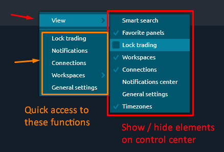 Quick access to controls of main toolbar