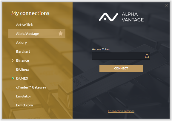 Alpha vantage data provider is available in Quantower