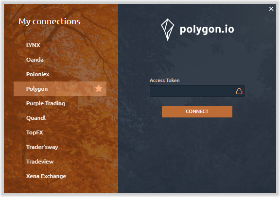 Connection to Polygon.io data provider
