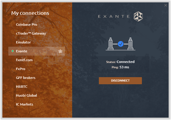 Exante is available in Quantower platform