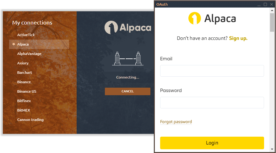 Alpaca OAuth in Quantower platform